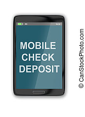 Mobile Check Deposit concept - 3D illustration of 'MOBILE...