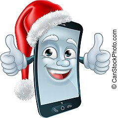 Mobile Christmas Cell Phone Mascot in Santa Hat - A cell or...