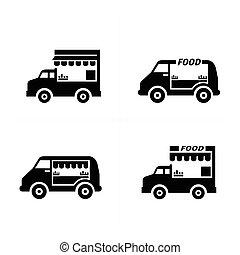 mobile, cibo, automobile, icone