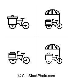 mobile, cibo, bicicletta, icone