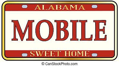 Mobile City Alabama State License Plate - Mobile Alabama...
