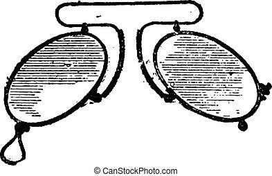 mobile, clip, occhiali, spaziando, naso, vendemmia, engraving.