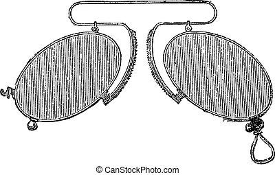 mobile, clip, -, spaziando, naso, vendemmia, occhiali, engraving.