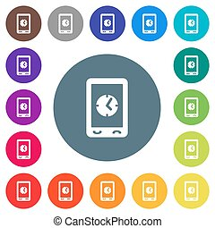 Mobile clock flat white icons on round color backgrounds