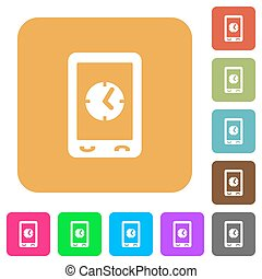 Mobile clock rounded square flat icons