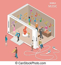 Mobile cloud music service flat isometric vector.