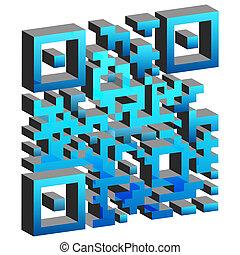 mobile, code, étiquetage, 3d