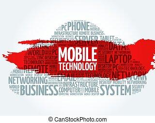 mobile, collage, tecnologia, parola, nuvola