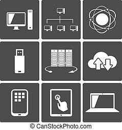 mobile, collegamenti, rete, icone