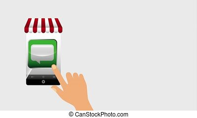 mobile commerce hand music cloud chat video amination