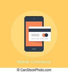 Vector illustration of mobile commerce flat design concept.