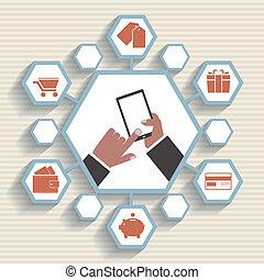mobile, commercialisation, app, -, email, vecteur, promotion.