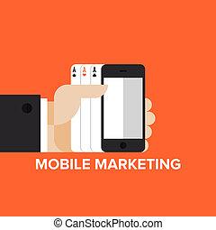 mobile, commercialisation, concept, stratégie, plat