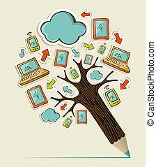 Mobile communication concept tree - Hand drawn Social media...