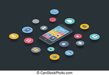 Mobile communication design concept - Flat design modern...