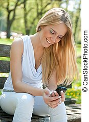 Mobile communication - happy teenager