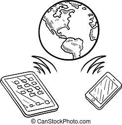 Mobile communication sketch - Doodle style global cloud ...
