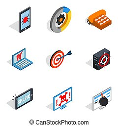 Mobile computer icons set, isometric style