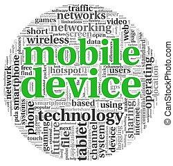 mobile, concept, étiquette, nuage, appareils