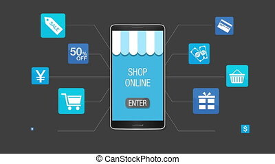 mobile, concept, achats, paiement