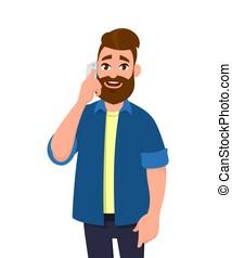 mobile, concept., giovane, illustrazione, cartone animato, telefono, vettore, talking/speaking, style., smartphone., uomo