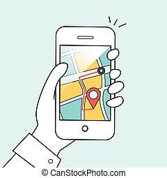 mobile, concept, navigation, gps