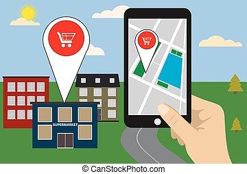mobile, concept, navigation, illustration., vecteur