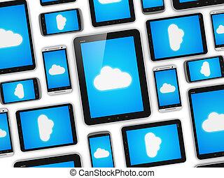 mobile, concept, nuage, appareils, calculer