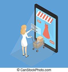 mobile, concept., shopping