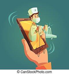mobile, concetto, medico linea
