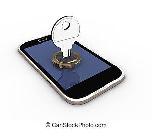 mobile, concetto, protezione, 3d