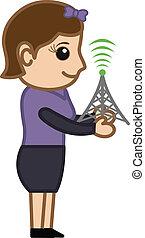 mobile, concetto, -, rete, vettore