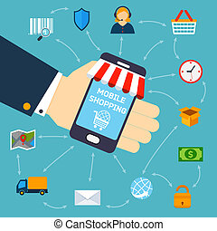 mobile, concetto, shopping