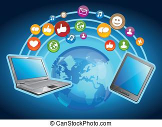 mobile, concetto, -, vettore, computer