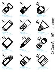 mobile, congegno, set, nero, icona