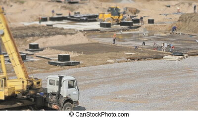 Mobile construction crane on wheels outdoors - Construction...