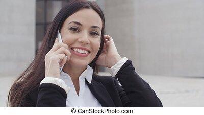 mobile, conversation, femme, séduisant