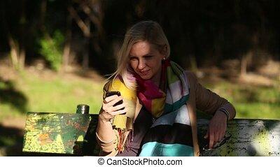 mobile, conversation, femme, téléphone