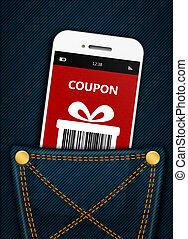 mobile, coupon, poche, noël, téléphone