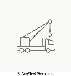 Mobile crane line icon.