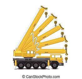 Mobile crane vector