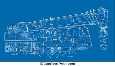 Mobile crane. Vector