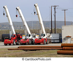 Mobile Cranes in a Construction Yard