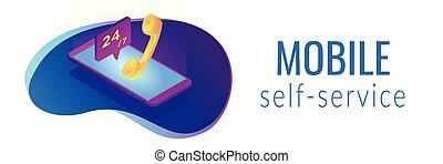 Mobile customer service isometric 3D banner header.