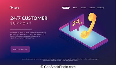 Mobile customer service isometric 3D landing page.