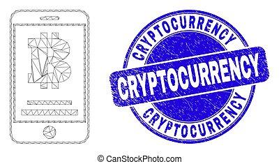 mobile, détresse, toile, maille, compte, cryptocurrency, bleu, cachet, bitcoin