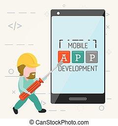 mobile, développement, app