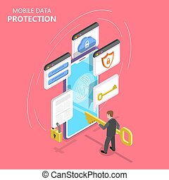 Mobile data protection isometric flat vector concept.