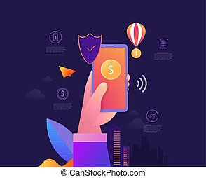 Mobile data security isometric vector illustration. Online payment protection system concept with smartphone and credit card.
