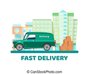 Mobile delivery city transportation vector illustration concept. Online deliver car sharing with packaging boxes to deliver. Can use for landing page, poster, banner, flyer.